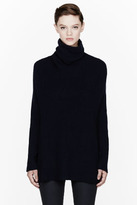 Maison Martin Margiela Navy overlong Ribbed Turtleneck