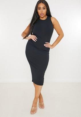 Missguided Plus Size Black Rib Racer Neck Midi Dress