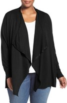 Sejour Plus Size Women's Cotton Blend Drape Front Cardigan