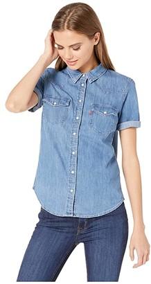 Levi's Womens Ultimate Short Sleeve Western (Love Blue X) Women's Clothing