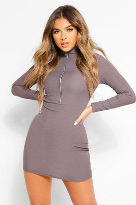 boohoo Petite Long Sleeve Zip Through Mini Dress
