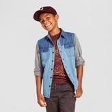 Mossimo Boys' Long Sleeve Button Down Denim Shirt - Blue & Gray