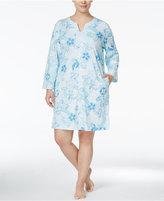Miss Elaine Plus Size Floral-Print Zip-Front Robe