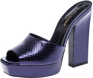 Saint Laurent Paris Purple Python Embossed Leather Platform Sandals Size 38