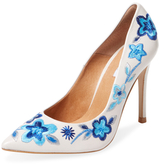 Embroidered Leather Pump