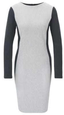 BOSS Long-sleeved bodycon dress in a cotton blend