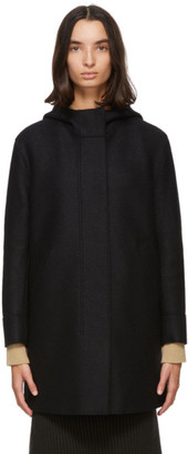 Harris Wharf London Black Pressed Wool Fishtail Parka