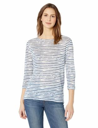 Majestic Filatures Women's Linen Stripe 3/4 Sleeve Boatneck