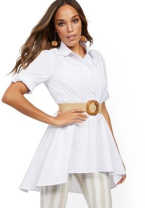 New York & Co. Poplin Peplum-Hem Tunic Shirt