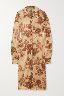 Kwaidan Editions Floral-print Jersey Shirt Dress - Beige