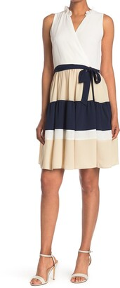 Gabby Skye Sleeveless Colorblock Crepe Fit and Flare Dress