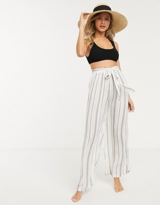 New Look stripe belted beach pants in white
