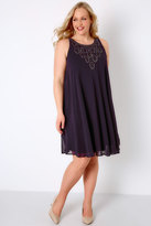 Yours Clothing Purple Ofilia Swing Dress With Embellished Neckline