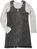 Appaman Mina Denim Zip-Up Dress w/ Striped Long-Sleeve Top, Size 2-14