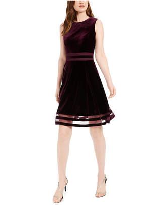Calvin Klein Petite Illusion Detail Fit & Flare Dress