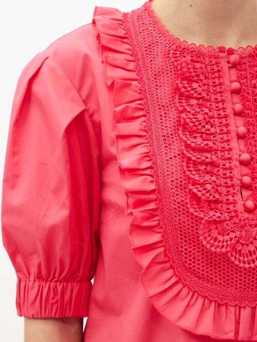 Thumbnail for your product : Self-Portrait Lace-bib Puff-sleeve Poplin Dress - Pink