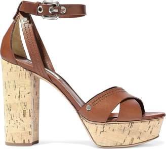 Casadei Ranger Leather Platform Sandals
