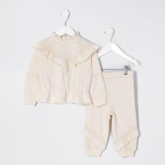 River Island Mini girls Beige chevron frill outfit