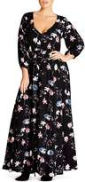 City Chic Sitting Room Floral Print Maxi Dress