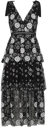 Self-Portrait Deco Sequin-embellished Tulle Midi Dress