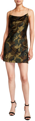 Alice + Olivia Harmony Camo Print Drapey Mini Slip Dress