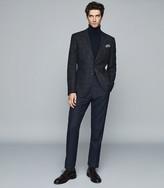 Reiss Hermitage - Wool Cotton Blend Checked Blazer in Indigo