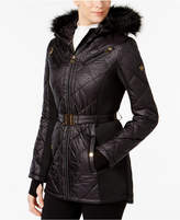 MICHAEL Michael Kors Active Faux-Fur Hooded Belted Puffer Coat