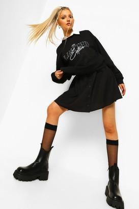 boohoo Woven Button Through Skater Skirt