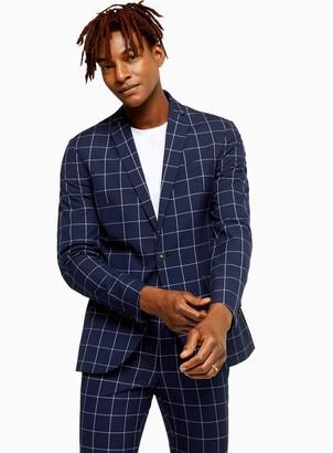Topman Navy Windowpane Check Skinny Fit Suit Blazer With Notch Lapels