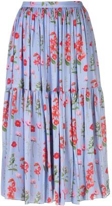Carolina Herrera Floral Print Midi Skirt
