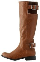 Charlotte Russe Riding Boots with Buckles & Knit Shaft