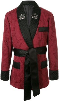 Dolce & Gabbana Jacquard-Knit Belted Robe Jacket