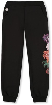 Philipp Plein Junior Diamante Floral Sweatpants (4-16 Years)