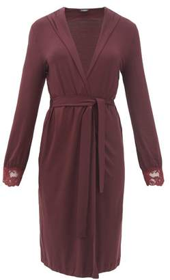La Perla Tres Souple Lace-trimmed Jersey Robe - Womens - Burgundy