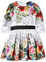 Love made Love White Floral Dress with Black Satin Bow Belt