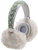 Bluetooth Beaded Fur Headphones, Sliver/Mint