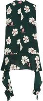 Marni Floral-print Silk-georgette Top - Emerald