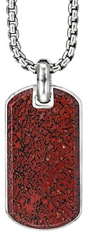 David Yurman Sterling Silver Exotic Stone Streamline Tag with Red Agate