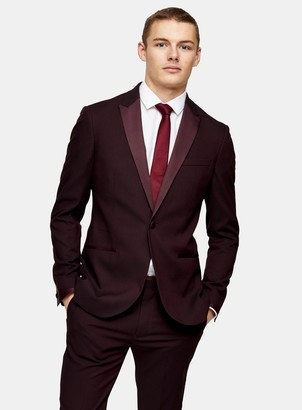 Topman Burgundy Skinny Single Breasted Suit Blazer With Peak Lapels