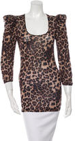 Torn By Ronny Kobo Long Sleeve Leopard Print Top w/ Tags