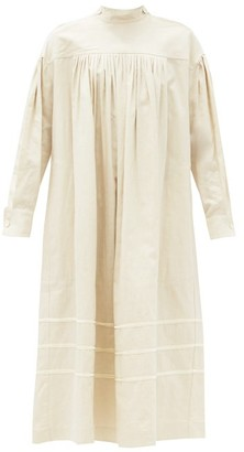 Zanini Pintucked Linen-blend Midi Dress - Cream