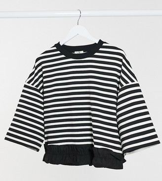 Gebe Maternity stripe jumper in black and white