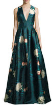Sachin + Babi Dharma Plunging Sleeveless Floral-Printed Evening Gown
