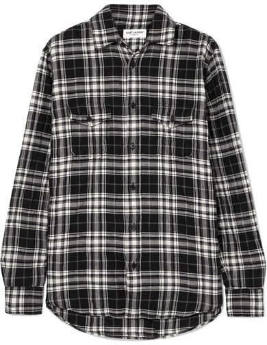 Saint Laurent Checked Crinkled Cotton-flannel Shirt - Black