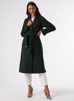 Dorothy Perkins Womens Green Glossy Popper Funnel Coat, Green