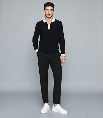 Reiss Mauritizio - Long Sleeved Zip Neck Polo in Black