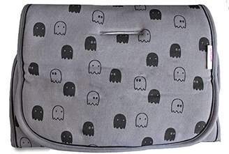 Minene Reversible Pushchair Liner, Grey with Ghosts/Black Stripes