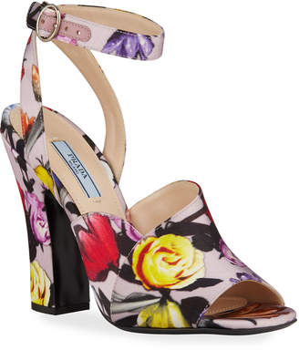 Prada Duchesse Little Flowers Sandals