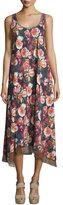 Fuzzi Floral-Print Scoop-Neck Maxi Dress