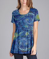 Lily Blue & Yellow Swirl Scoop Neck Tunic - Plus Too